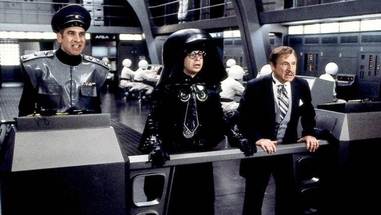 "George Wyner, Rick Moranis, and Mel Brooks in ""Spaceballs"""