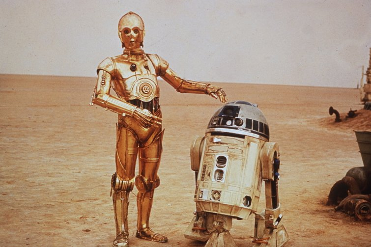 """Anthony Daniels and Kenny Baker in """"Star Wars"""""""