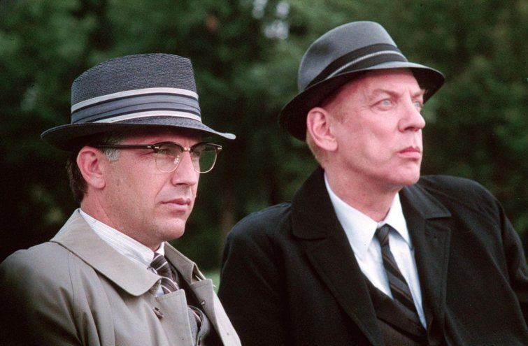 """Kevin Costner and Donald Sutherland in """"JFK"""""""