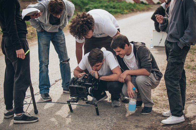Crew Working on Short Film