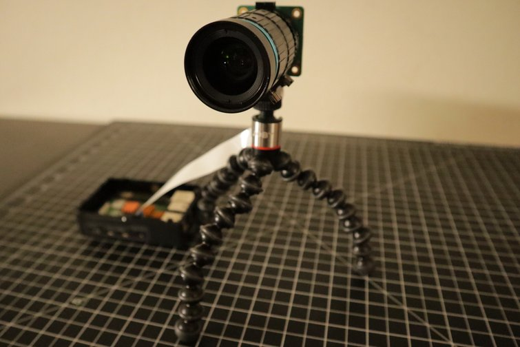 Ribbon Cable Connected to Camera Module on a Tripod