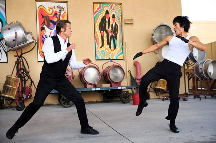 """Brad Pitt and Mike Moh in """"Once Upon a Time in Hollywood"""""""