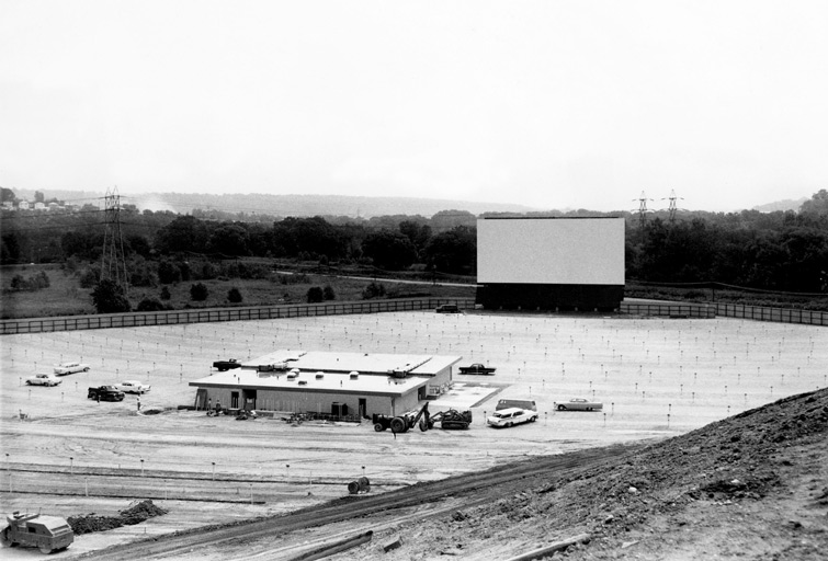 1950s drive-in movie theater under construction