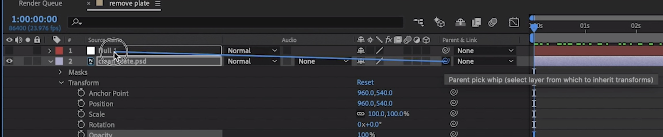 Remove logos from footage: Use the pick whip to link the still frame to the tracked Null object.