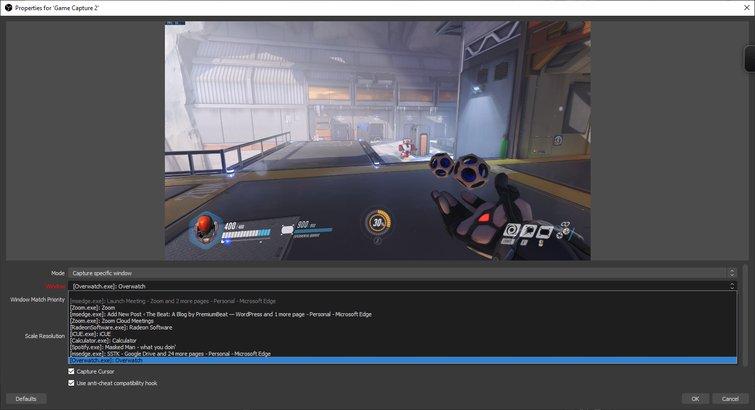 Capture Specific Window - Overwatch