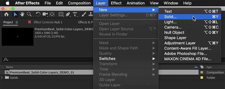 """Go to the Layer menu and under """"New"""" select """"Solid…"""""""
