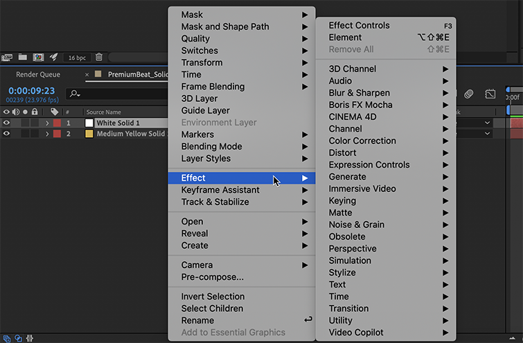 Right-click the Solid Color Layer to apply an Effect.