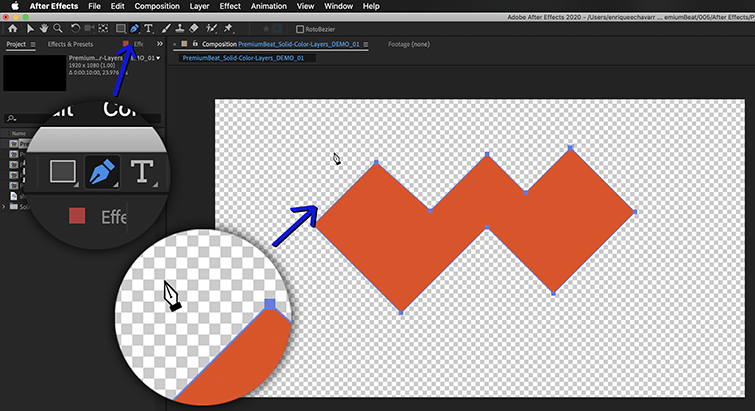 Create vector shapes directly onto Solid Color Layers with the Pen Tool.