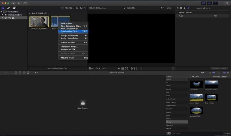 Final Cut Pro X: Synchronize Clips