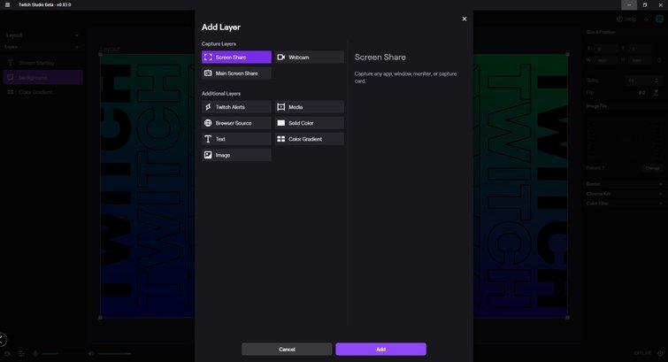 Twitch Studio: Add Layer