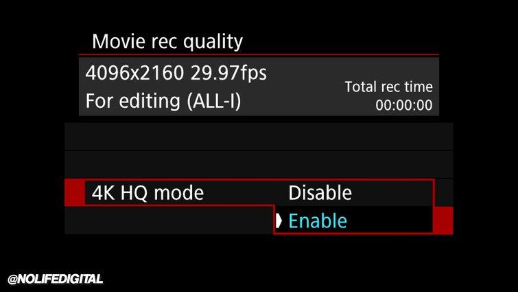Settings: Movie Rec Quality
