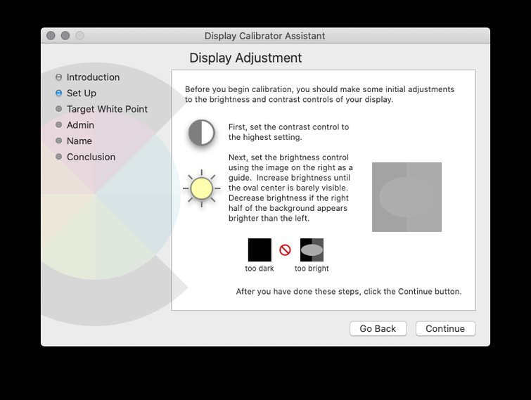 Calibrating with macOS: Adjust Brightness