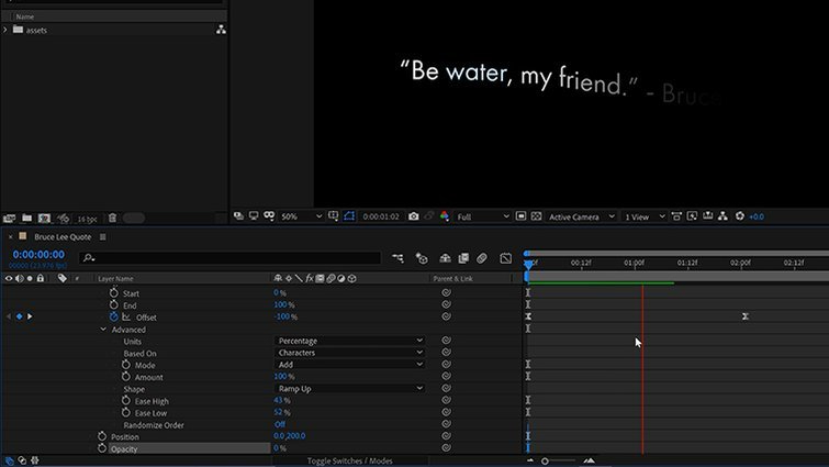 After Effects: Animate the Properties