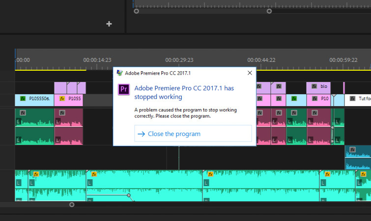 Premiere Pro Crashing: Crash