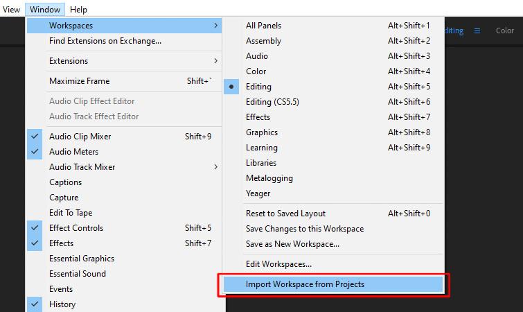 Premiere Pro Crashing: Disable Import Workspace