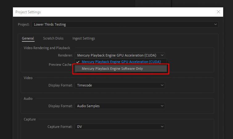 Premiere Pro Crashing: GPU Acceleration