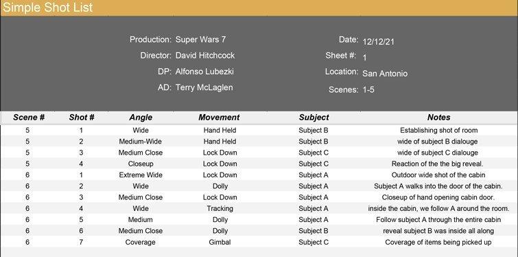 Simple Shot List Example