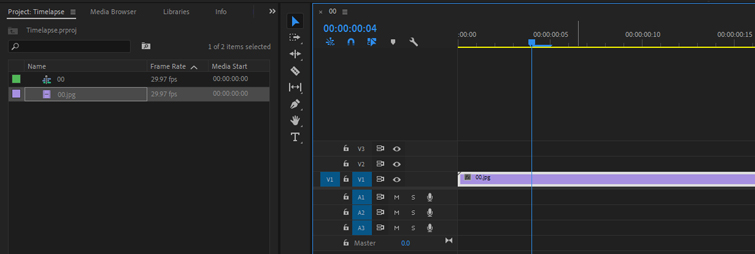 Create a Video Time-lapse from an Image Sequence in Premiere Pro - Drag and Drop