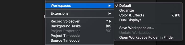 FCPX Workspaces