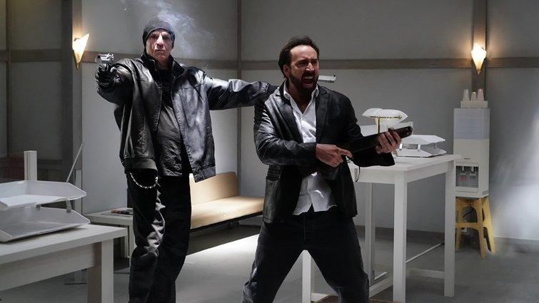 Nick Cassavetes and Nic Cage in Prisoners of the Ghostland