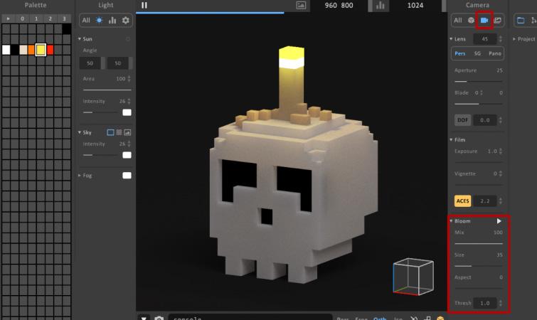 MagicaVoxel Camera Settings